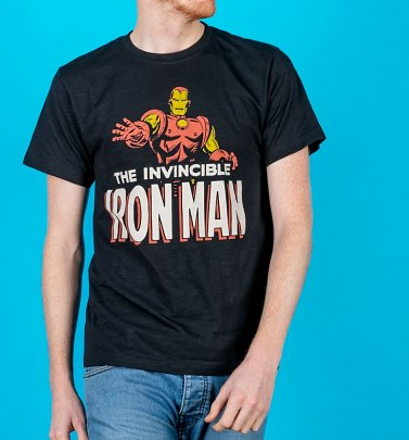 Men's Black Iron Man T-Shirt from Fabric Flavours