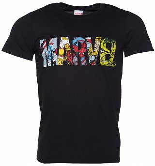 Men's Black Marvel Comic Strip Logo T-Shirt