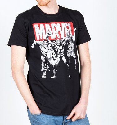 Men's Black Marvel Comics Hero Trio T-Shirt