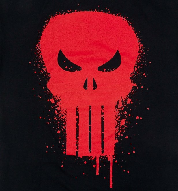 Men's Black Marvel Punisher Skull Graffiti T-Shirt