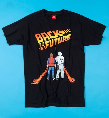 Men's Black McFly Fire Tracks Back To The Future T-Shirt