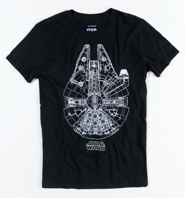 Men's Black Millennium Lines Star Wars T-Shirt