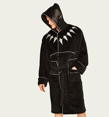 Men's Black Panther Dressing Gown With Hood