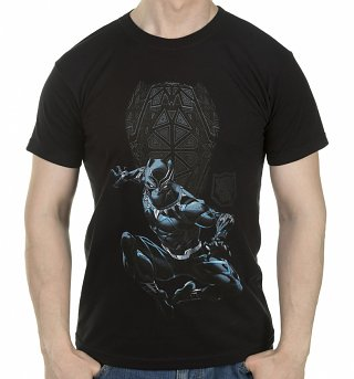 Men's Black Panther Shield and Logo T-Shirt