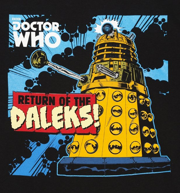 Men's Black Retro Comic Return Of The Daleks Doctor Who T-Shirt