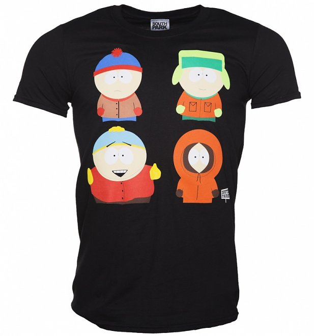 Men's Black South Park Characters T-Shirt