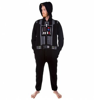 Men's Black Star Wars Darth Vader Costume Onesie With Sounds