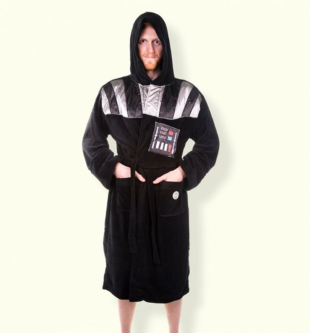 Men\'s Black Star Wars Darth Vader Hooded Dressing Gown With ...