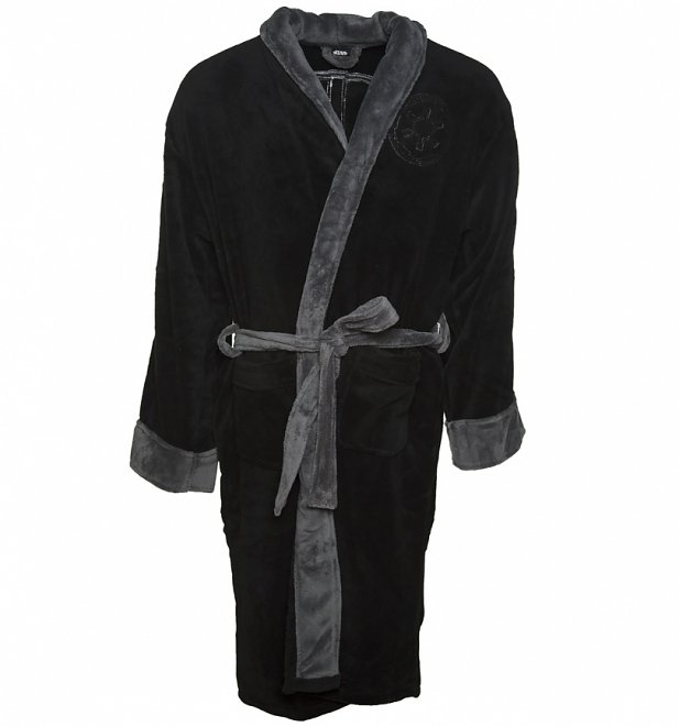 Men's Black Star Wars Fleece Darth Vader Embossed Dressing Gown