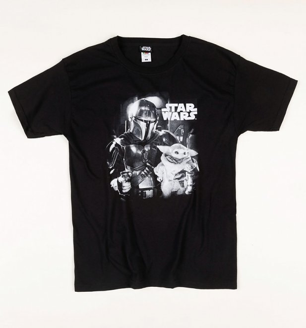 Men's Black Star Wars Mandalorian and Baby Yoda T-Shirt