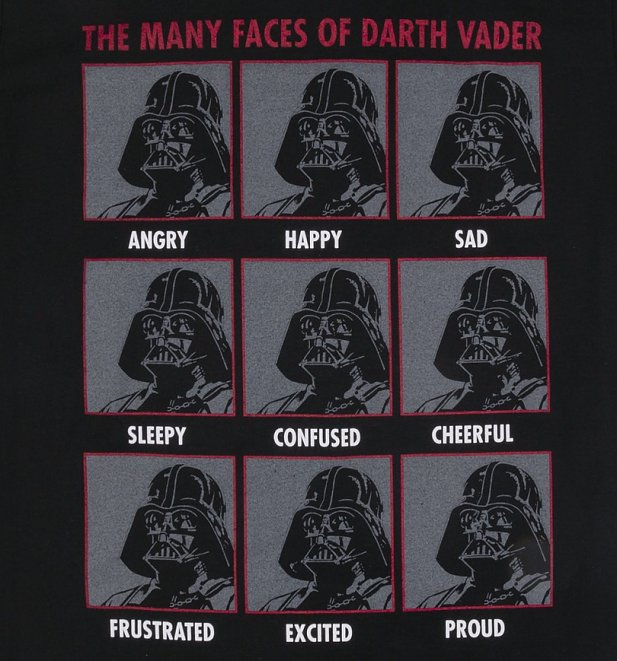 Men's Black Star Wars The Many Faces Of Darth Vader T-Shirt