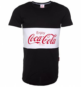 Men's Black and White Enjoy Coca-Cola T-Shirt from Hype