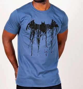 Men's Blue Batman Graffiti Logo T-Shirt