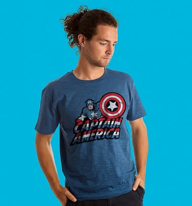 Men's Blue Captain America T-Shirt from Fabric Flavours