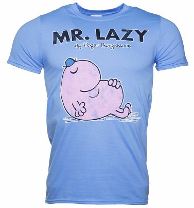 Men's Blue Mr Lazy Mr Men T-Shirt