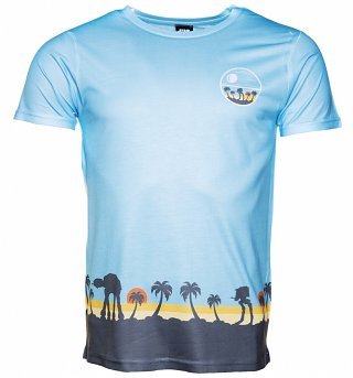 Men's Blue Scarif Border Print Scene Star Wars Rogue One T-Shirt