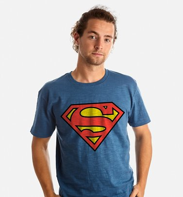 Men's Blue Superman Logo T-Shirt from Fabric Flavours