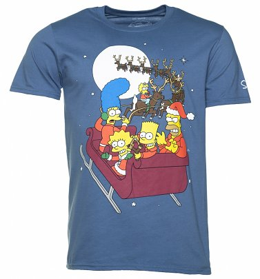 Men's Blue The Simpsons Sleigh Ride T-Shirt
