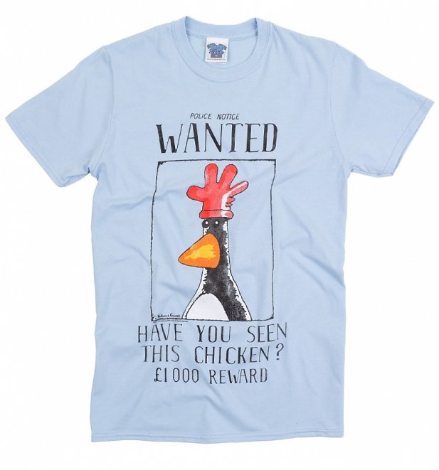 Men's Blue Wallace And Gromit Feathers McGraw Wanted Poster T-Shirt