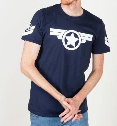 PENDING APPROVAL VIA POETIC Men's Captain America Super Soldier Navy T-Shirt