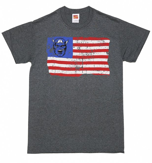 Men's Charcoal Captain America Old Glory Distressed US Flag T-Shirt