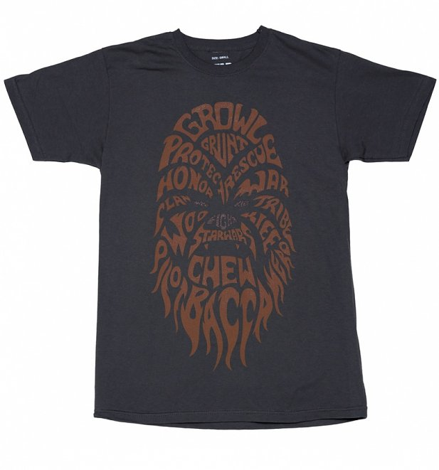 Men's Charcoal Chewbacca Text Star Wars T-Shirt