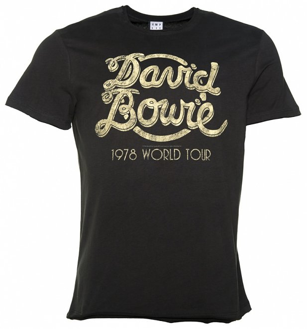 Men's Charcoal David Bowie 1978 World Tour T-Shirt from Amplified