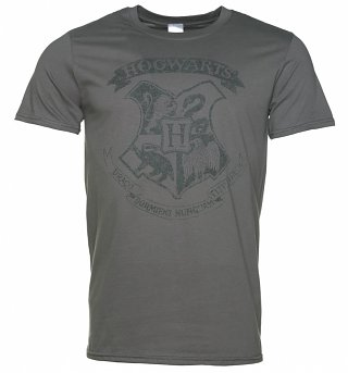 Men's Charcoal Harry Potter Hogwarts Distressed Crest T-Shirt
