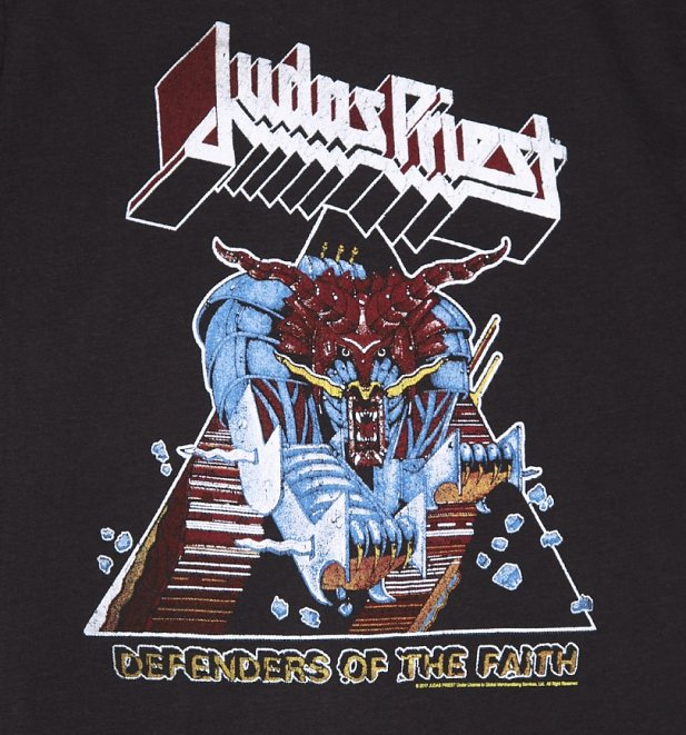 men 39 s charcoal judas priest defenders of the faith t shirt from amplified. Black Bedroom Furniture Sets. Home Design Ideas