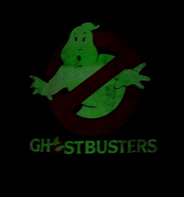 Men's Charcoal Marl Distressed Logo Glow In The Dark Ghostbusters T-Shirt