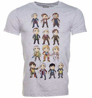 Men's Charcoal Marl Doctor Who Kawaii Doctors T-Shirt
