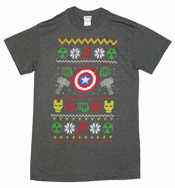 Men's Charcoal Marl Marvel Characters Symbols Fair Isle Knit Design T-Shirt