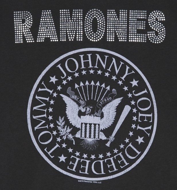 Men's Charcoal Ramones Silver Diamante T-Shirt from Amplified