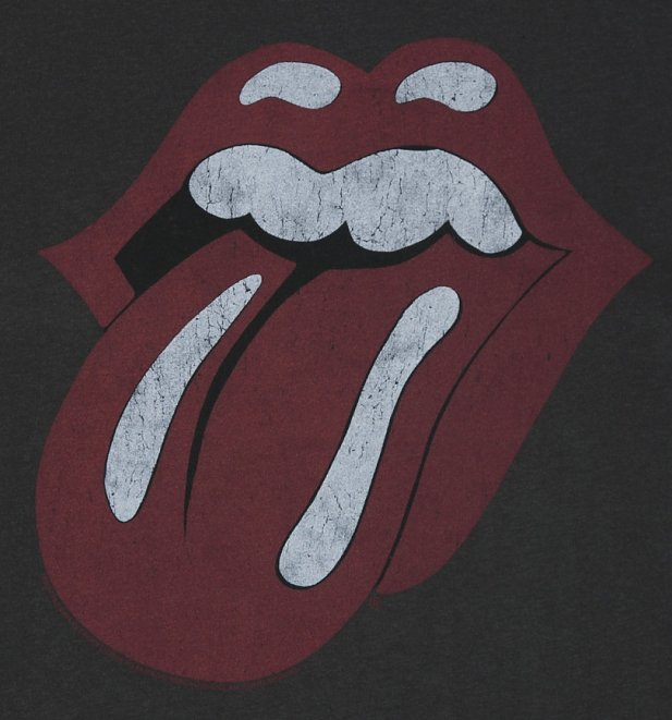 Men's Charcoal The Rolling Stones Tongue Logo T-Shirt from Amplified