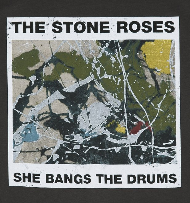 Men's Charcoal The Stone Roses She Bangs The Drums T-Shirt from Amplified