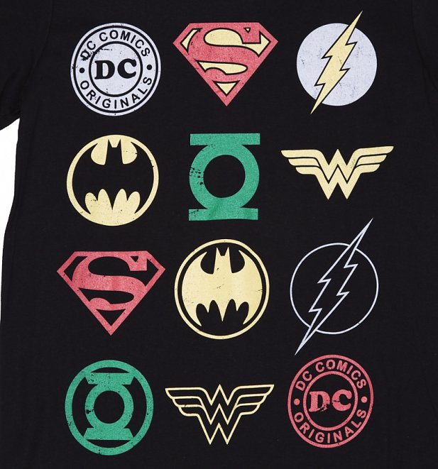 Free Comic Book Day Logo: Men's DC Comics Originals Superhero Logos T-Shirt