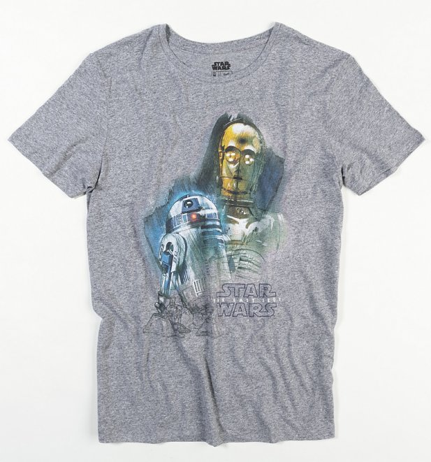 Men's Dark Grey Star Wars Droids Burnout T-Shirt