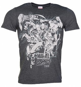Men's Dark Heather Marvel Comics Band Of Heroes T-Shirt