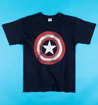 Men's Dark Navy Distressed Shield Captain America T-Shirt