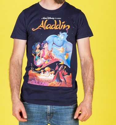 Men's Disney Aladdin Video Cover Navy T-Shirt