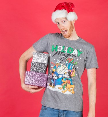 PENDING APPROVAL VIA POETIC Men's Disney Holiday Magic Grey T-Shirt