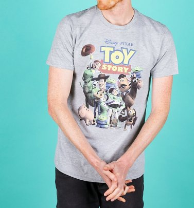 Men's Disney Toy Story Gang Grey Marl T-Shirt