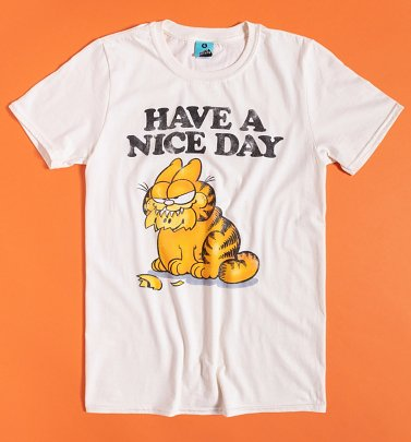 Men's Garfield Have A Nice Day Ecru T-Shirt