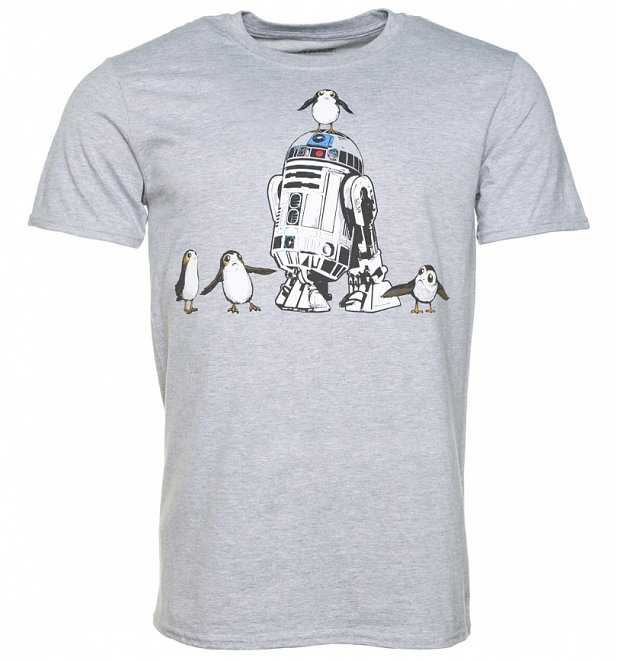 Men's Grey Marl Star Wars Episode VIII R2-D2 And Porgs T-Shirt