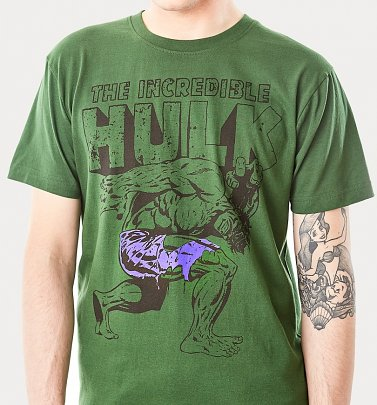 Men's Green Incredible Hulk T-Shirt from For Love & Money