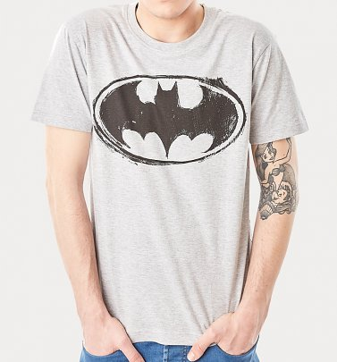 Men's Grey Batman Logo T-Shirt from For Love and Money