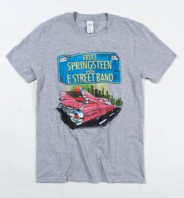 Men's Grey Marl Bruce Springsteen And The E-Street Band Cadillac T-Shirt