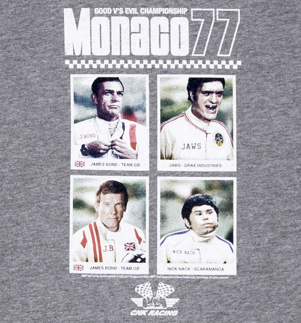 Men's Grey Marl Monaco 77 James Bond T-Shirt from Chunk