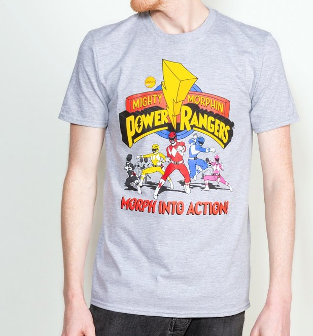 Men's Grey Marl Power Rangers T-Shirt