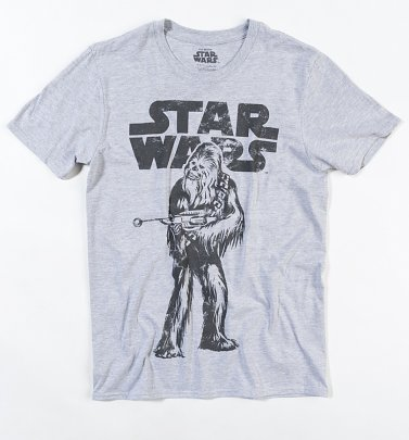 Men's Grey Marl Star Wars Distressed Chewbacca T-Shirt